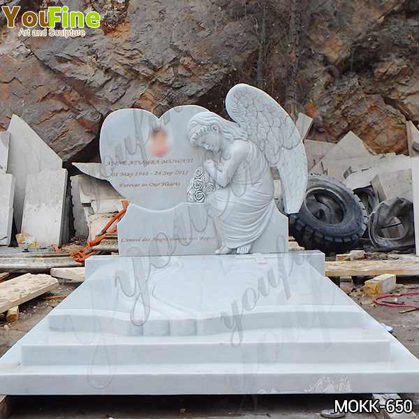 Large Size White Marble Little Angel with Heart Shape Headstone for Sale MOKK-650