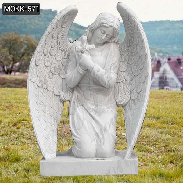 Lowest Price Large Size White Marble Kneeling Angel Headstone Design MOKK-571