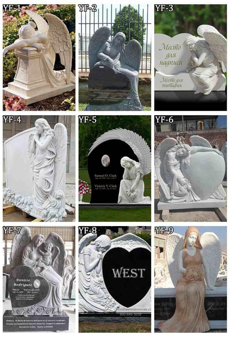 Sleeping Marble Winged Angel TombstoneSleeping Marble Winged Angel Tombstone