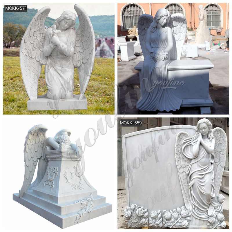 White Marble Kneeling Angel Headstone