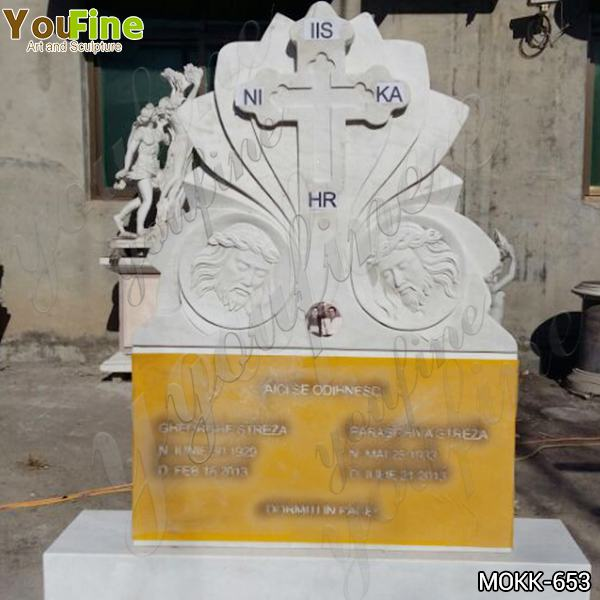 Hand Carved Customized Religious Cross Marble Headstone from Factory Supply MOKK-653