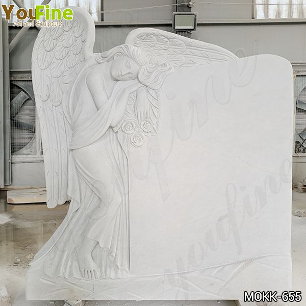 Hand Carved Large Size White Marble Angel Headstone from Factory Supply MOKK-655