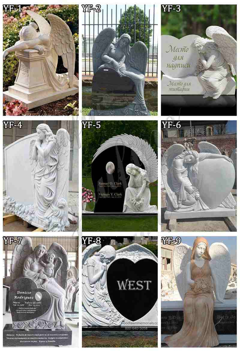 Hand Carved Marble Angel Headstone