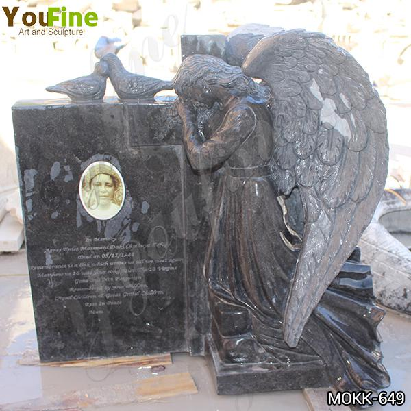 High-quality Black Granite Winged Angel Headstone with Competitive Price MOKK-649