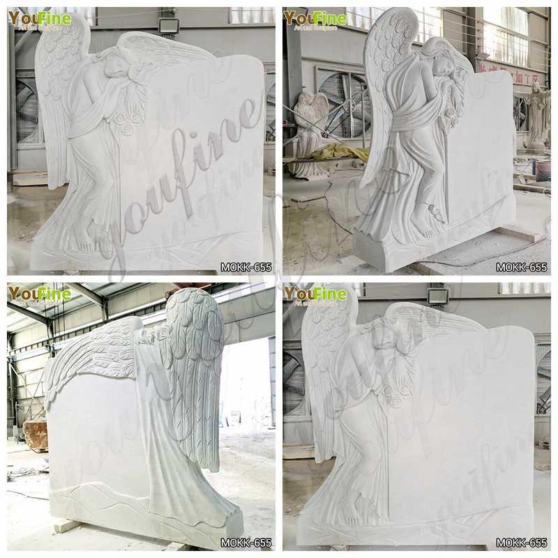 White Marble Angel Headstone