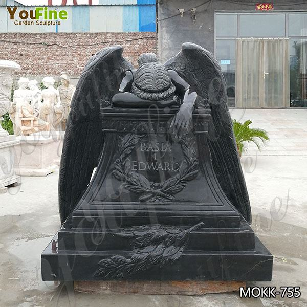 Best Priced Hand Craved Granite Weeping Angel Headstone Sculpture for Memorial MOKK-755