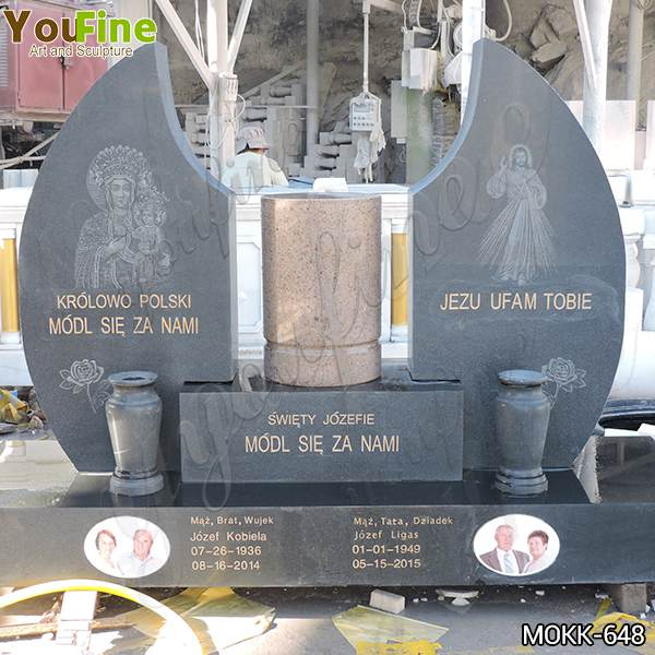 Hand Carved Black Granite Headstone for Church Design Manufacturer MOKK-648