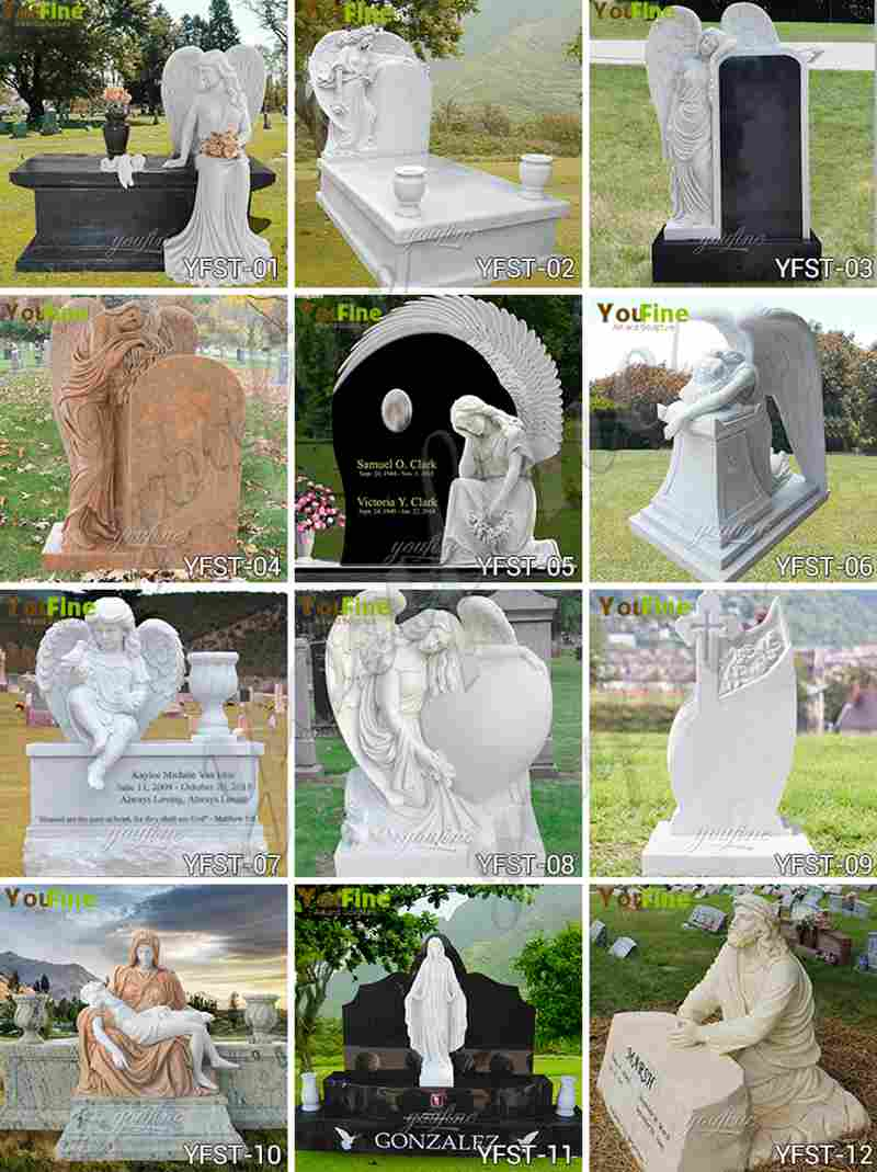 Hand Carved Black Granite Headstone