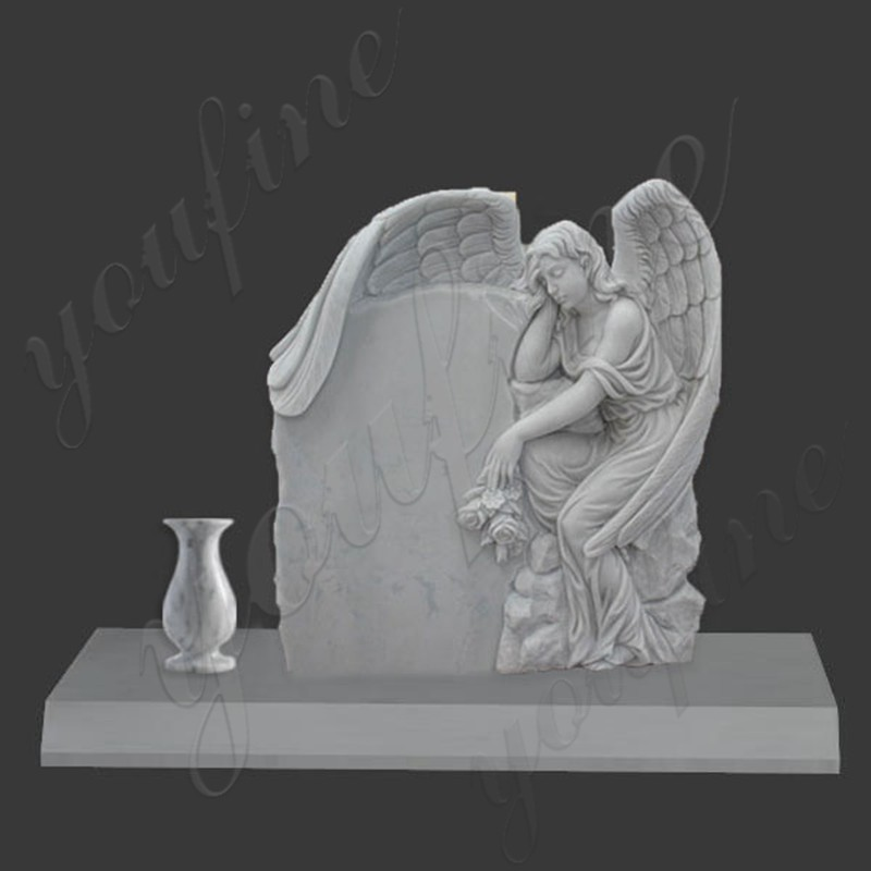 MOKK-36 White marble angel tombstone with flower pots made for US client