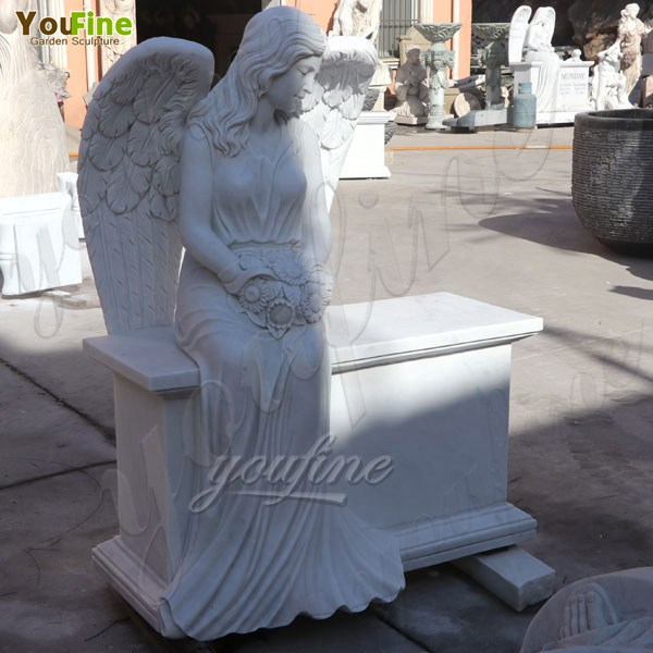 Marble Angel Memorial Headstones with Flower China Factory MOKK-98