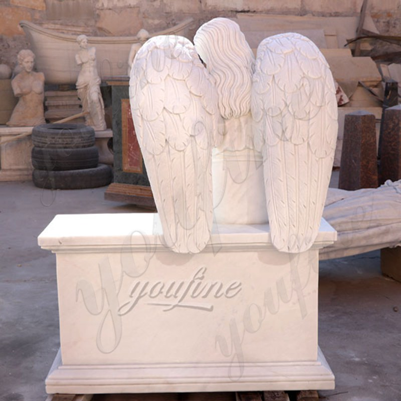 Marble Angel Memorial Headstones with Flower China Factory
