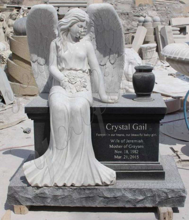 Marble Angel Memorial Headstones with Flower China