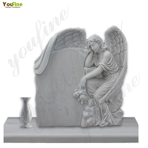 White-marble-angel-tombstone-with-flower-pots-for-sale