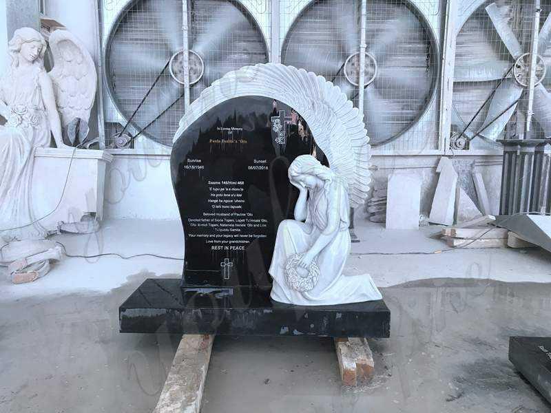 Granite Weeping Angel Tombstone for graves Supplier MOKK-561