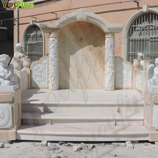 High Polished Marble Headstone with Angel Statue for Grave MOKK-323