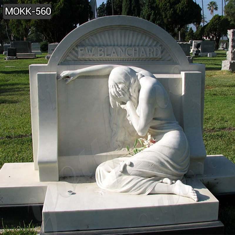 Natural Marble Crying Angel Tombstone China Factory MOKK-560