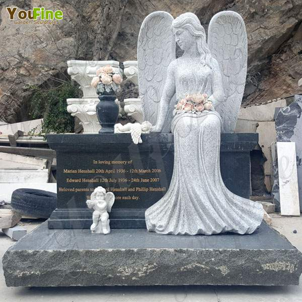 Natural Stone Sitting Angel Sculpture Tombstone China Factory for Sale Mokk-111