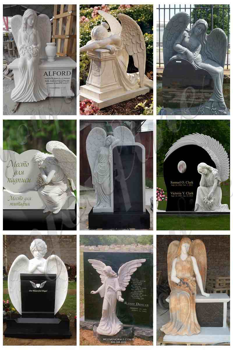 Natural Stone Sitting Angel Sculpture Tombstone China Factory