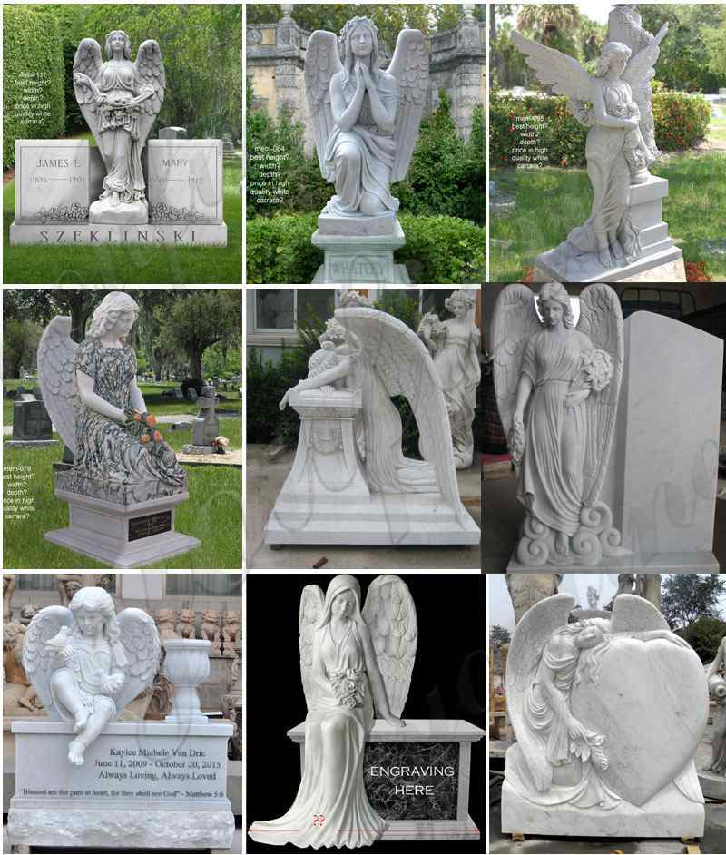 Black Granite Weeping Angel Tombstone for graves Supplier