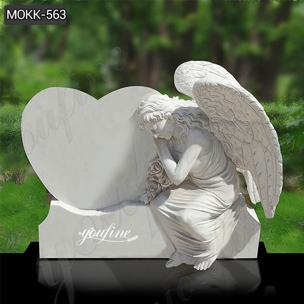 Natural White Marble Angel Headstone for sale MOKK-563