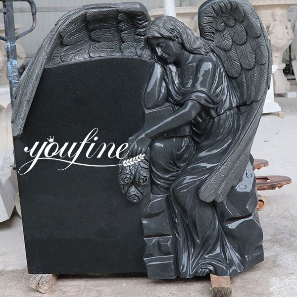 Black Granite Headstone Wepping Angel Statue Memorials for Sale MOKK-415